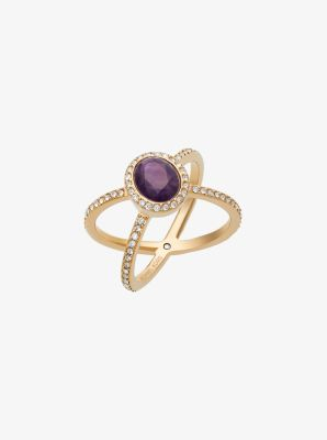 Gold-Tone Amethyst X Ring by Michael Kors