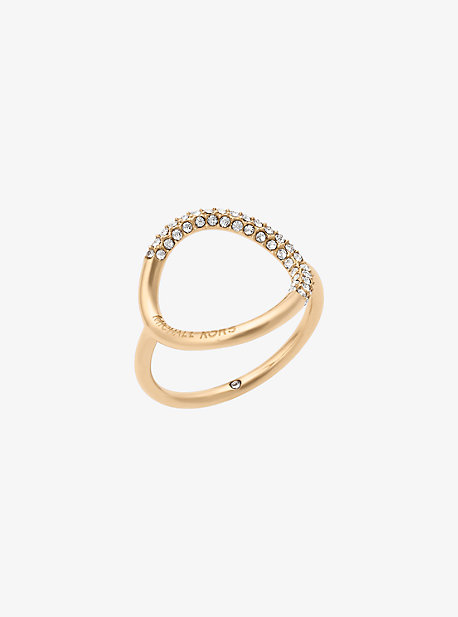 Gold-Tone Pave Ring