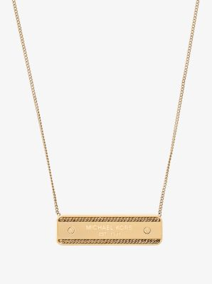 Gold-Tone Logo Plaque Necklace by Michael Kors