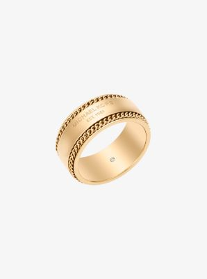 Gold-Tone Logo Barrel Ring by Michael Kors