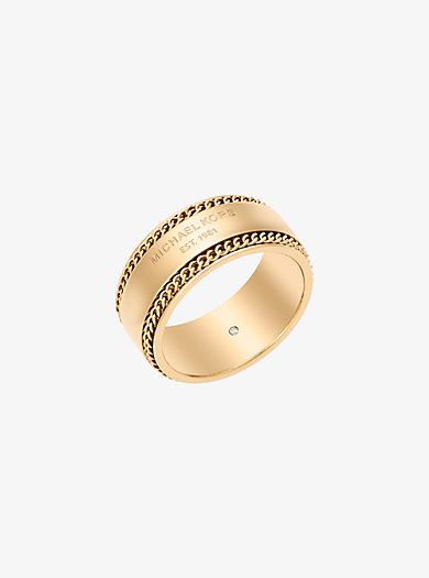 Gold-Tone Logo Barrel Ring by Michael Kors