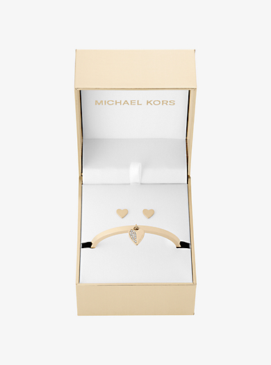 Gold-Tone Heart Hinge Bracelet and Stud Earrings Set by Michael Kors