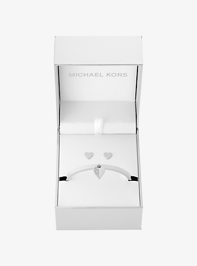 Silver-Tone Heart Hinge Bracelet and Stud Earrings Set by Michael Kors