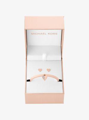 Rose Gold-Tone Heart Hinge Bracelet and Stud Earrings Set by Michael Kors
