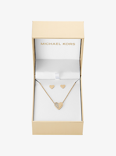 Gold-Tone Heart Pendant Necklace and Heart Stud Earrings Set by Michael Kors