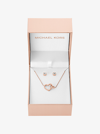 Rose Gold-Tone Heart Pendant Necklace and Stud Earrings Set by Michael Kors
