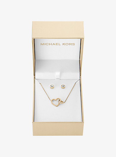 Gold-Tone Heart Pendant Necklace and Stud Earrings Set by Michael Kors