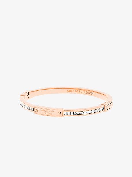 Rose Gold-Tone Baguette Hinge Logo Bracelet