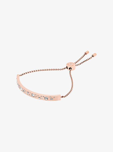 Rose Gold-Tone Scatter Pave Slider Bracelet