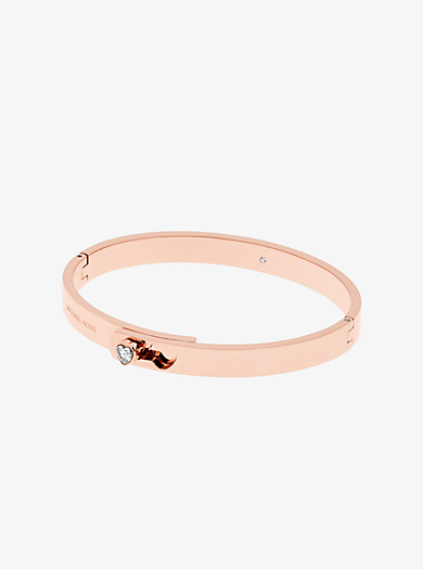 Bracciale tonalità oro rosa con ciondolo a cuore e cerniera by Michael Kors