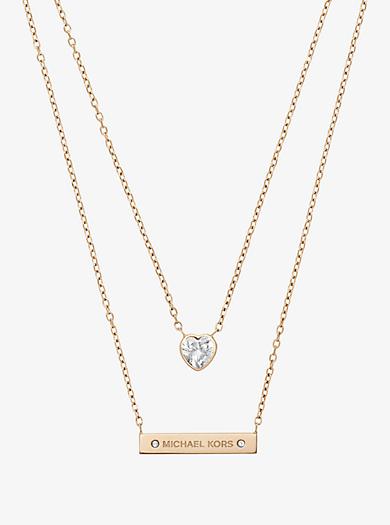 Collana doppio filo tonalità oro con pendente by Michael Kors