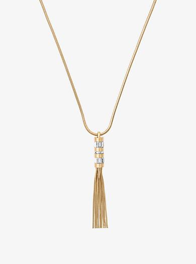 Collana baguette tonalità oro con cursore e nappina by Michael Kors