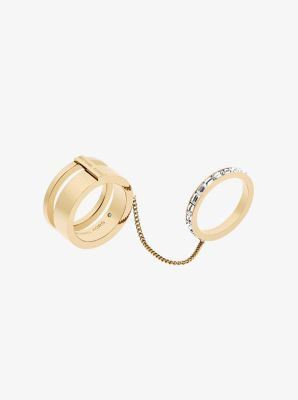 Gold Tone Double Baguette Chain Ring by Michael Kors