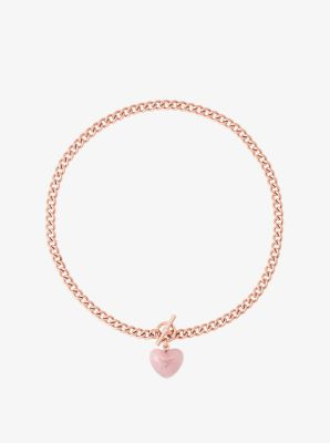 Rose Gold-Tone Heart Charm Toggle Necklace by Michael Kors