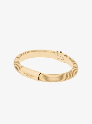 Gold-Tone Ribbed Hinge Bracelet by Michael Kors
