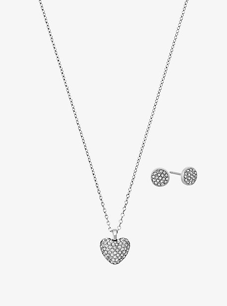 Pave Silver-Tone Heart Necklace And Earrings Set