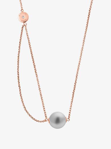 Collar en tono dorado rosa con colgante de perla de vidrio by Michael Kors