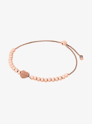 Pavé Rose Gold-Tone Heart Slider Bracelet by Michael Kors