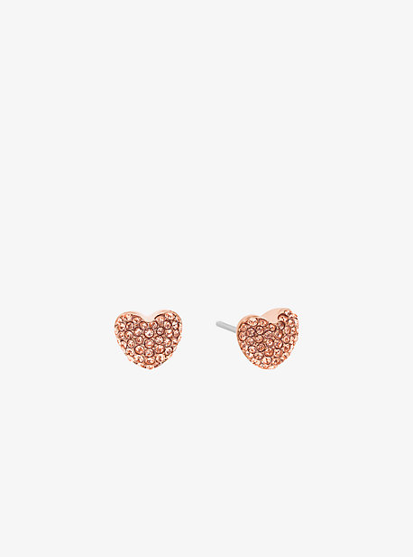 Pave Rose Gold-Tone Heart Stud Earrings