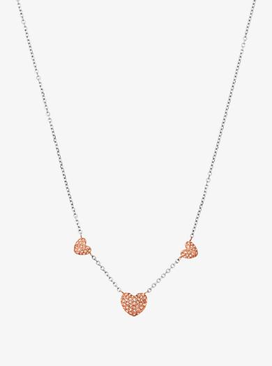 Halskette im Silberton mit Herz-Anhänger mit Pavé-Fassung by Michael Kors