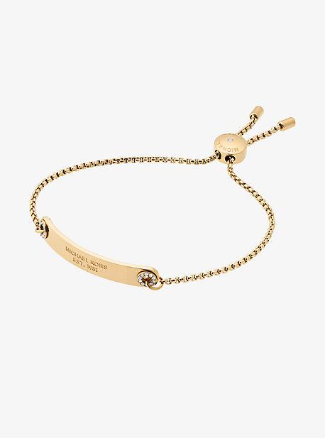 Pave Gold-Tone Logo Plaque Slider Bracelet