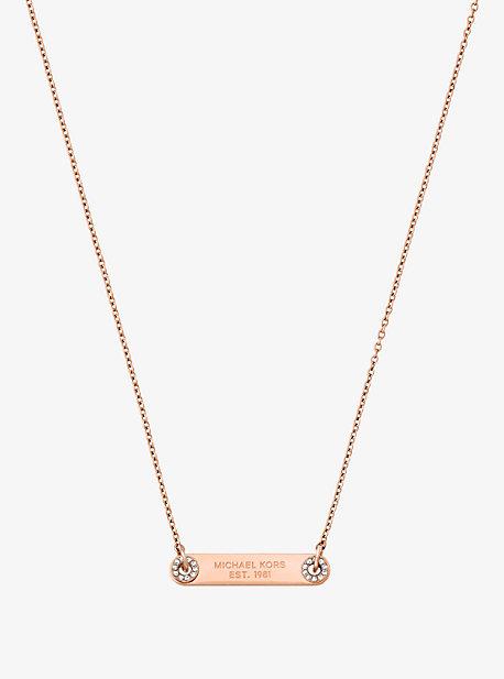 Pave Rose Gold-Tone Logo Plaque Necklace