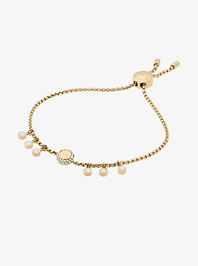 Crystal Gold-Tone Logo Slider Bracelet by Michael Kors