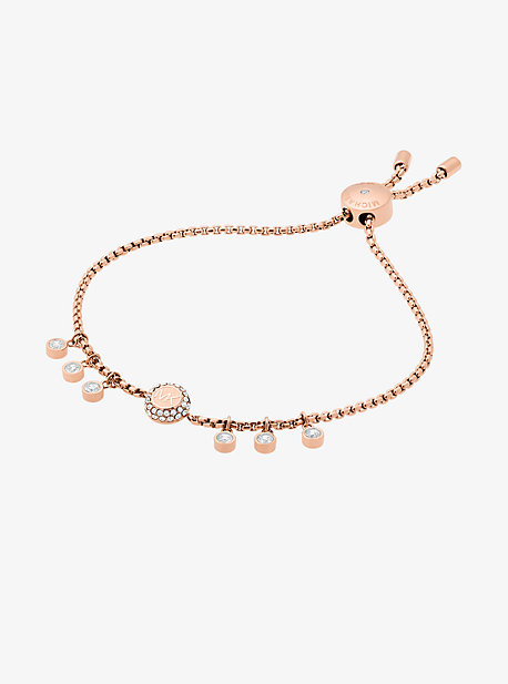Crystal Rose Gold-Tone Logo Slider Bracelet