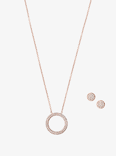 Pavé Rose Gold-Tone Pendant Necklace and Earrings Set by Michael Kors