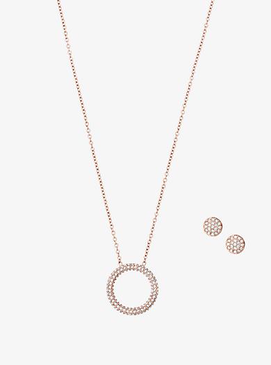 Halskette im Rosé-Goldton mit Anhänger mit Pavé-Fassung und Ohrringe im Set by Michael Kors