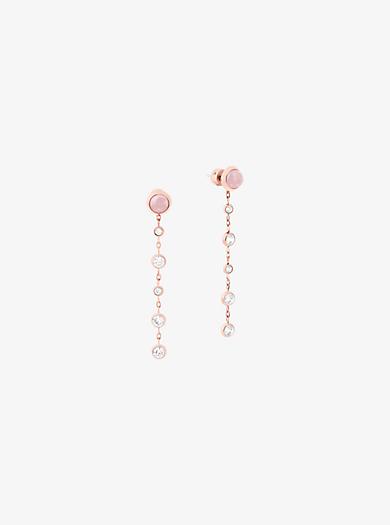 Orecchini pendenti tonalità oro rosa e quarzo rosa by Michael Kors