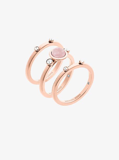Rose Gold-Tone Genuine Rose Quartz Ring