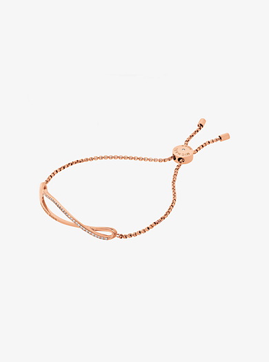 Pavé Rose Gold-Tone Wave Slider Bracelet by Michael Kors