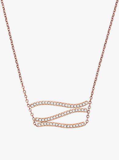 Pavé Rose Gold-Tone Wave Pendant Necklace by Michael Kors