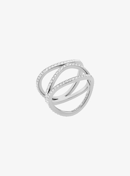 Pave Silver-Tone Ring