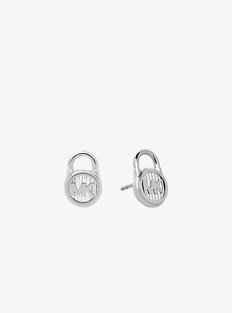 Silver-Tone Logo Lock Stud Earrings