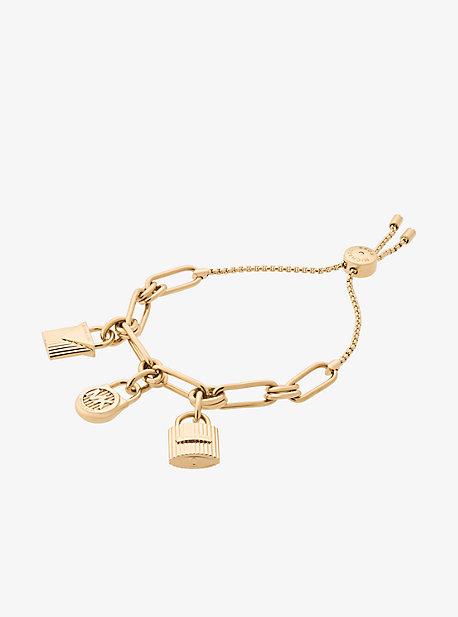 Gold-Tone Padlock Charm Slider Bracelet