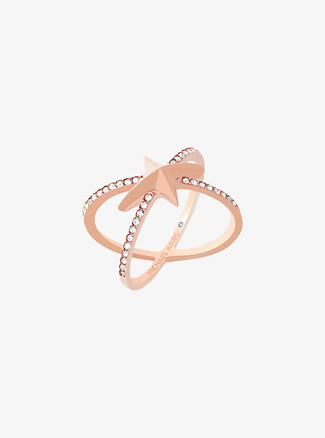Pave Rose Gold-Tone Celestial Crossover Ring