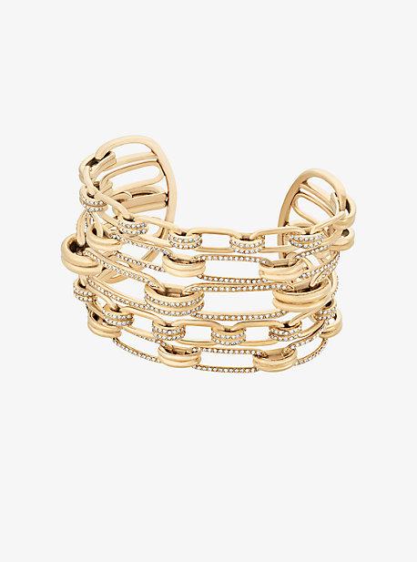 Pave Gold-Tone Link Cuff