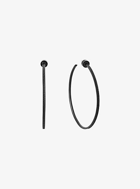 Pave Black-Tone Hoop Earrings