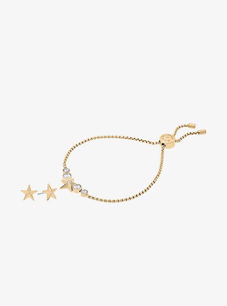Gold-Tone Star Slider Bracelet And Earrings Set