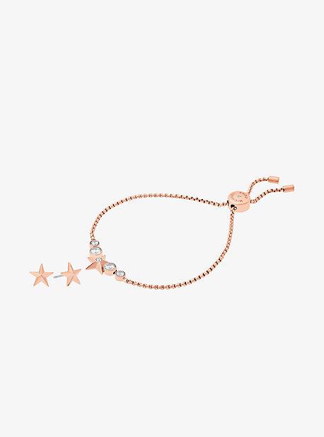 Rose Gold-Tone Star Slider Bracelet And Earrings Set