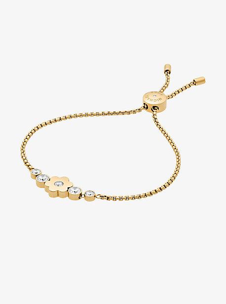 Pave Gold-Tone Floral Slider Bracelet