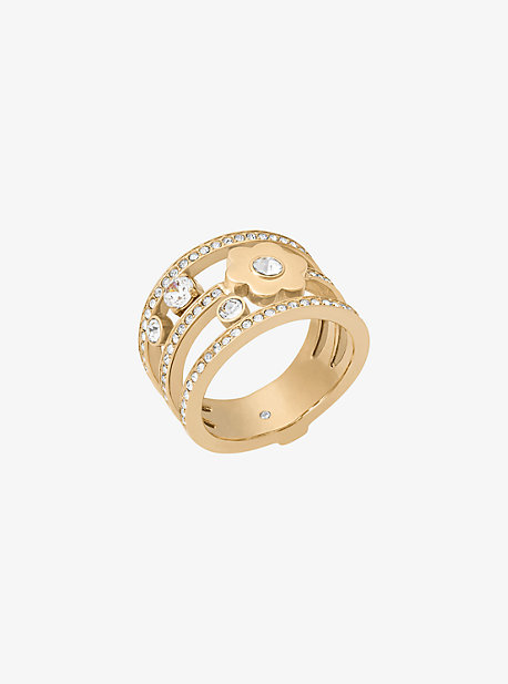 Pave Gold-Tone Floral Ring