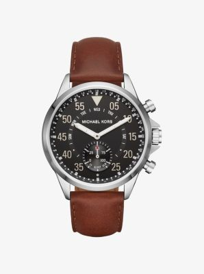 Michael Kors Access Gage Silver-Tone and Leather Hybrid Smartwatch by Michael Kors