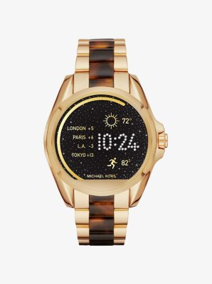 Michael Kors Bradshaw Gold-Tone and Acetate Smartwatch,GOLD