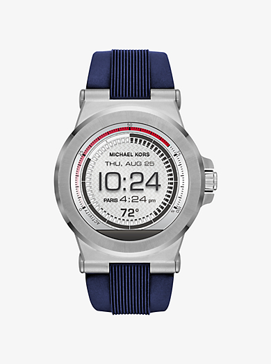 Dylan Silicone Silver-Tone Smartwatch by Michael Kors