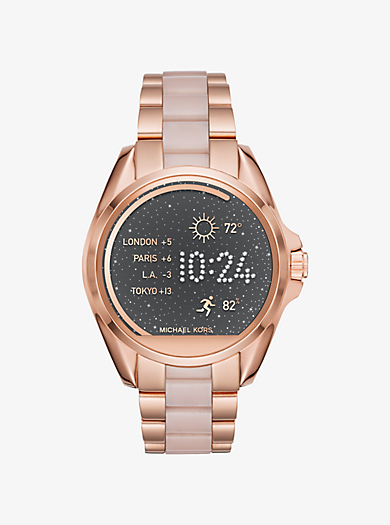 Bradshaw Rose Gold-Tone and Acetate Smartwatch by Michael Kors