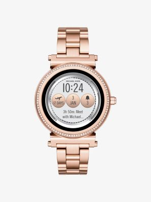 Michael Kors Sofie Pave Rose Gold-Tone Smartwatch,ROSE GOLD