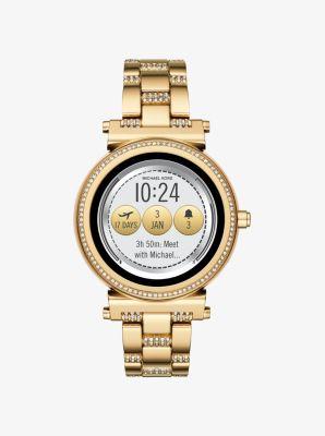 Michael Kors Sofie Pave Gold-Tone Smartwatch,GOLD